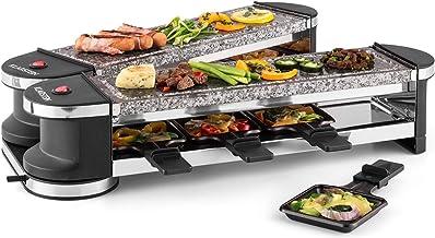 KLARSTEIN Tenderloin - Appareil à raclette, Raclette grill, Pierrade, Festif, Dépliable, Articulé à 360 °, Plaques de cuis...