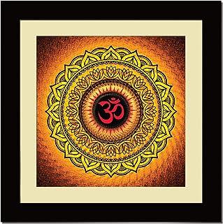 ArtX Paper Premium OM Powerful Mandala Orange Wall Art, Multicolor, Traditional, 16X16 in, Set of 1