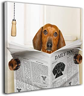 Sausage Dachshund Dog Reading Newspaper Modern Wall Art Painting On Canvas Stretched And Framed Canvas Paintings Ready To Hang For Home Decorations Wall Decor 16