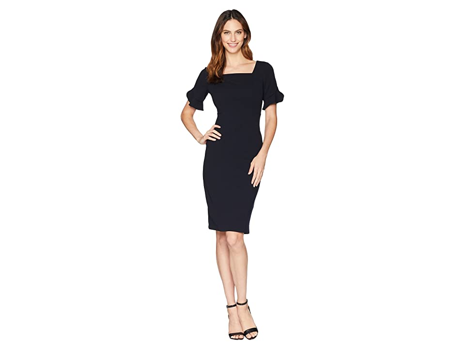 Donna Morgan Midi Length Crepe Dress with Flutter Sleeve (Marine Navy) Women