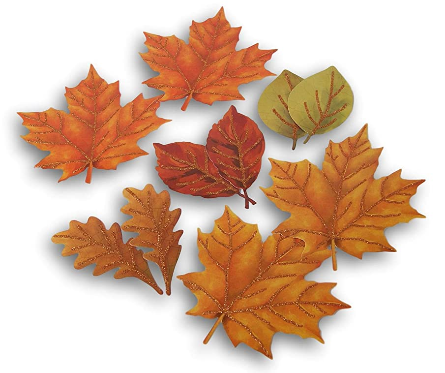 Glitter Paper Harvest Leaves Cutouts Fall Autumn Thanksgiving Decor - 10 Pieces