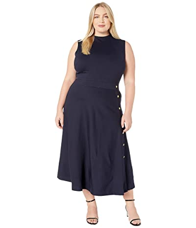 LAUREN Ralph Lauren Plus Size Button-Trim Ponte Dress (Lauren Navy) Women