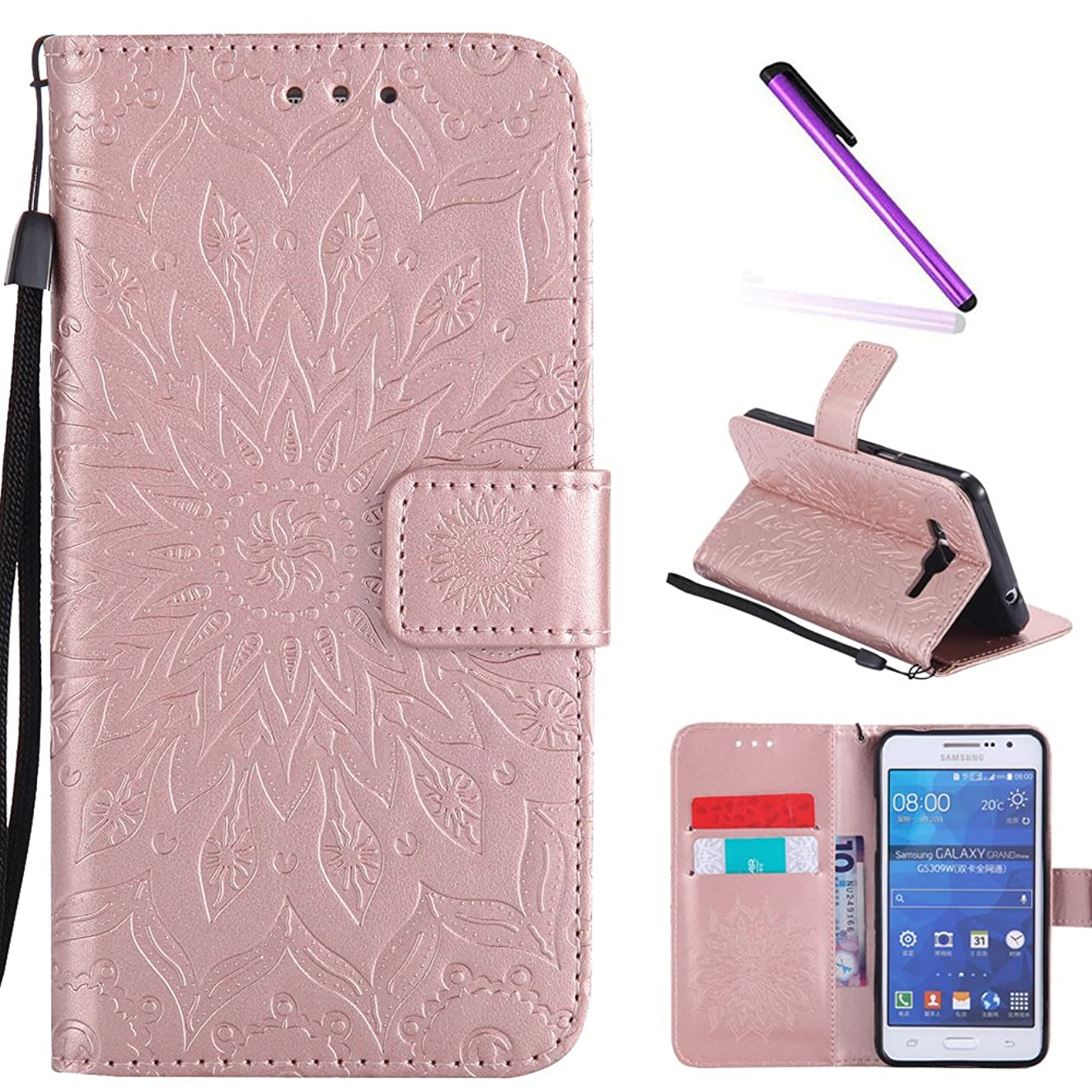 Galaxy Grand Prime Case,G530 Case,LEECOCO Fancy Embossed Floral Wallet Case with Card / Cash Slots PU Leather Flip Stand Case for Samsung Galaxy Grand Prime LTE G530 Mandala Rose Gold