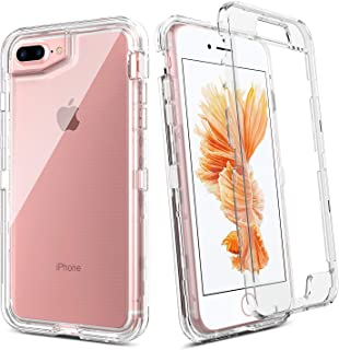 BENTOBEN iPhone 8 Plus Case, iPhone 7 Plus Case, iPhone 6s Plus Case, iPhone 6 Plus Case, Transparent Clear Heavy Duty Rugged Full Body Shockproof Protective Phone Cover, Crystal Clear