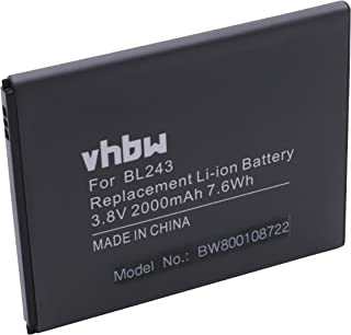 vhbw Li-Ion batería 2000mAh (3.7V) para teléfono móvil Smartphone Lenovo K3 Note, K50-T5 y BL243.