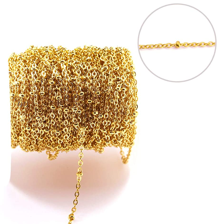 Tiparts 33 Feet 18K Gold Plated Satellite Chains Beaded Ball Cable Thin Chains Stainless Steel Necklace Spool Bulk for Jewelry Making(Gold Chain Width:1.5mm;Bead Diameter:2mm)