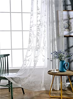 Victorian Design Sheer Curtain Luxurious Pattern Embroidered Rod Pocket Top Breathable Window Decoration For Living Room Bedroom and Office (1 Panel, W 50 x L 95 inch, White Bottom+Silver Embroidery)