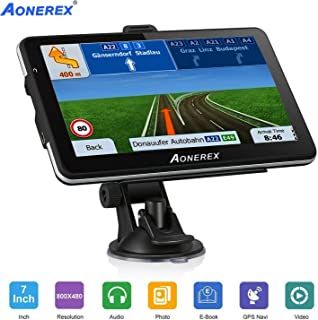 Car GPS, Aonerex 7 inch Touchscreen GPS Navigation System for Car Truck Motorhome &8GB 256MB Satellite Navigator Device with 2019 Maps Free Lifetime Map Updates