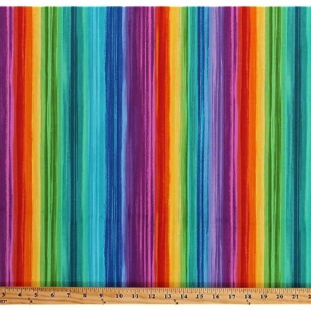 Rainbow Striped Cotton Fabric