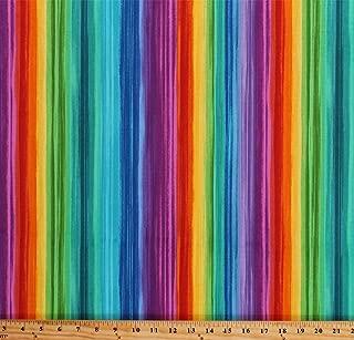 Cotton Rainbow Stripes Bright Colors Multi-Color Striped Cotton Fabric Print by The Yard (PAVILION-C6323-BRIGHT)
