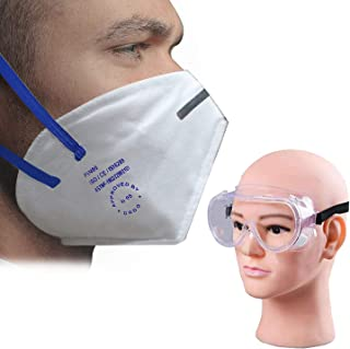 HACER Combo of 1 Piece Goggle PI-N95 DRDO Approved Face Mask with Breathing Valve & Metal Nose Pin for Men & Woman (10 Pcs)