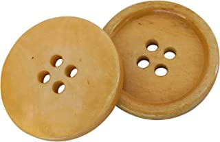 Konak Buttons Set of 10 Butterscotch Color Natural Genuine Ox Bone Buttons 25mm 1 Inch for Pea Coats, Overcoats, Winter Co...