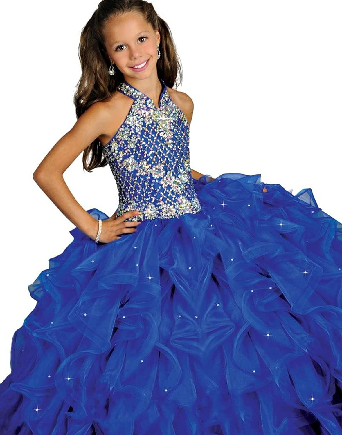 Zhiban Girls Beaded Ball Denver Mall Gowns Train Pageant Ruffled Max 90% OFF Dress Sweep