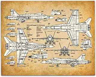 F-18 Hornet - 11x14 Unframed Patent Print - Great Room Decor or Gift Under $15 for Marine and Navy Pilots