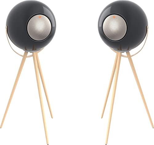 wholesale Ivation EUPHO E3 Bluetooth new arrival Spherical new arrival Wireless Speakers (Black) with Solid Wood Removable Legs (2 Pack) outlet online sale