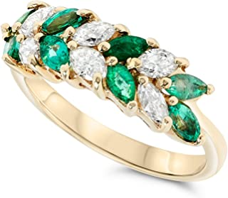 18k Yellow Gold Atlernating Marquise Green Emerald and Diamond Band Ring
