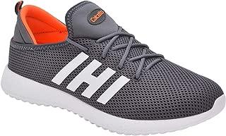 calcetto Mens Grey Orange Nylon Mesh Sport Shoes