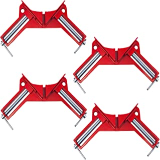 PlusOne コーナークランプ 4個 セット 90° 木工定規 直角定規 直角クランプ DIY クランプ (赤 4個)