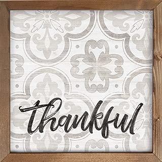 P. Graham Dunn Thankful Quatrefoil Clover 12 x 12 Inch Pine Wood Framed Wall Art Plaque