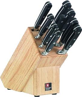 Richardson Sheffield Premium V Sabatier - Bloque de cuchillos (9 piezas, incluye espumador de latte cappucino)