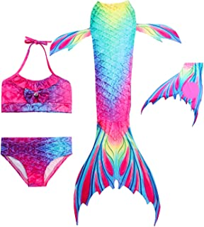 comprar comparacion Hifunbay Colas de Sirena para Nadar con Aleta para Niñas 4/5 PCs con Monoaleta y Flor Garland Diadema