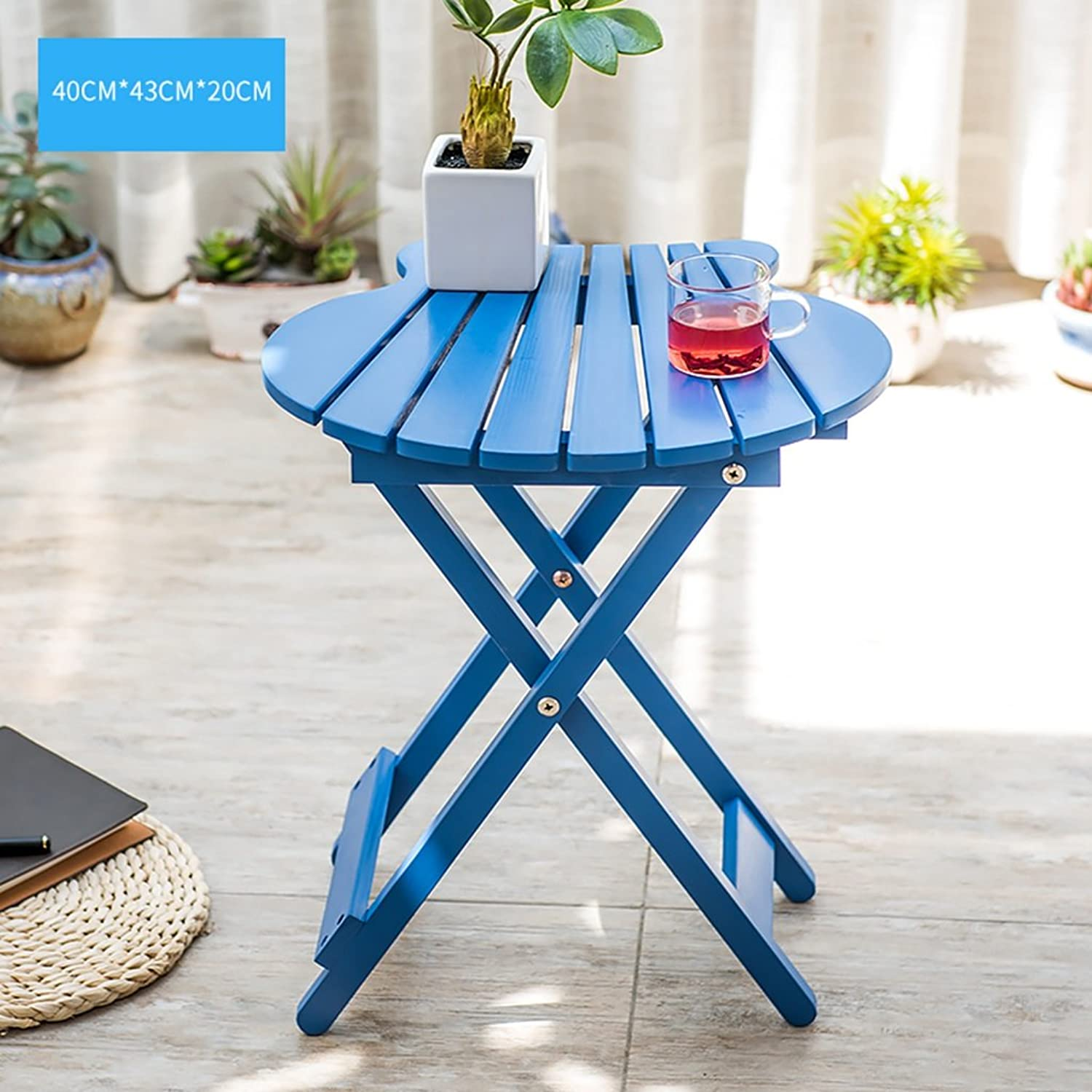 Simple Folding Free Inssizetion Table Imported Pine Desk Pure Handmade Coffee Table (color   bluee)