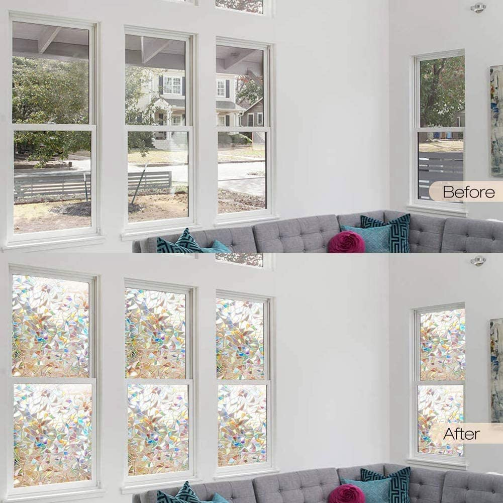 3D Nicht Klebende Fensterfolien Regenbogen-Fenster-Folie Selbstklebend Privatsph/äre Dekorative Fensteraufkleber 3D Leimlosen Bereifter Glasmalerei Dekorativer Holographischer Aufkleber 45x300cm