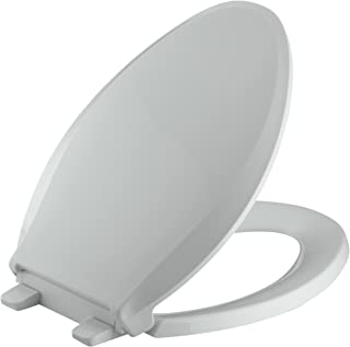 KOHLER K-4636-95 Cachet Quiet-Close with Grip-Tight Bumpers Elongated Toilet Seat, Ice Grey