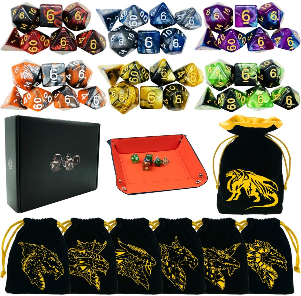 6 Sets DND Dice Polyhedral Dice Dungeons and Dragons Rolling Dice for RPG MTG Table Games Dice Bulk with Free Six Drawstring Bags and PU Leather D&D Dice Tray