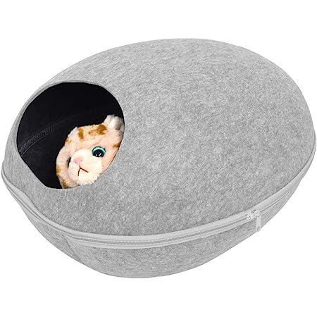 PLATA キャットハウス 2WAY フェルトポッド オールシーズン対応 猫ベッド お昼寝 ベッド ドーム型 Cat House 中を覗ける 可愛い小窓付 【 Sサイズ グレー 】