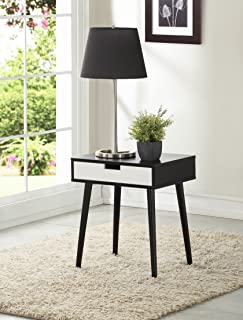 Black Color Hardwood End Side Table Nightstand with Drawer by Legacy Decor