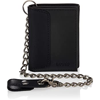 Levi's Men's Trifold Wallet-Sleek & Slim Includes Id Window & Credit Card Holder, Black Chain, One Size