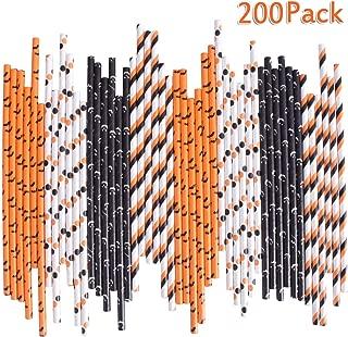Halloween Paper Straws Bulk Biodegradable Disposable Drinking Black White Orange Bat Striped Ghost Polka Dot for Party Supplies, 200PCS