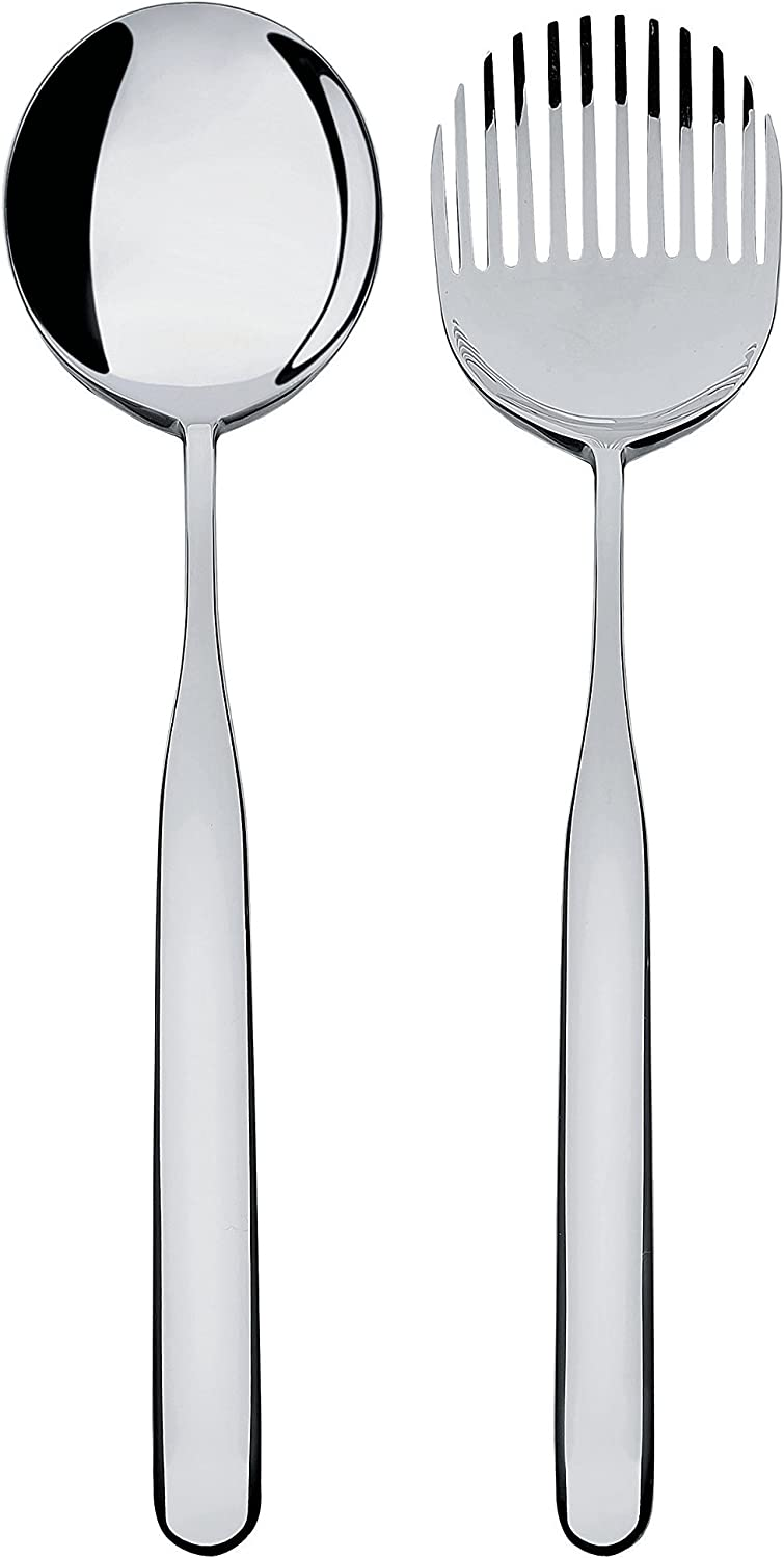 Alessi Collo-alto  Salad Set in 18 10 Stainless Steel Mirror Polished, Silver