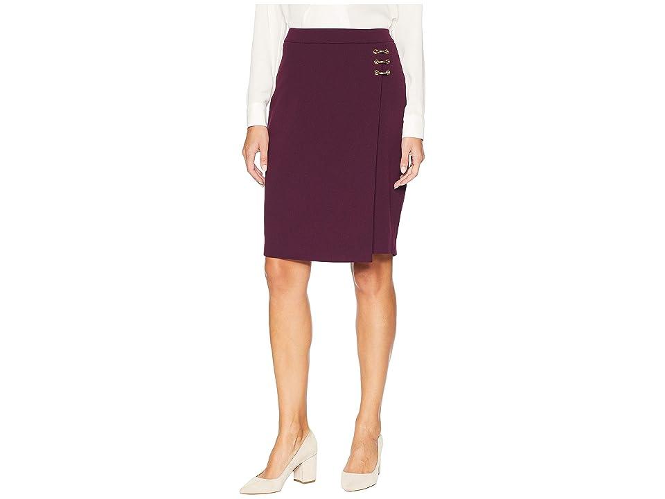 Calvin Klein Pencil Skirt w/ Ring Hardware (Aubergine) Women