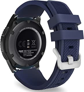 MoKo Band Compatible with Samsung Gear S3 Frontier/Classic/Galaxy Watch 46mm/Huawei Watch GT 46mm/Watch GT 2 46mm/Ticwatch pro/S2/E2, Silicone Sport Strap Fit 22mm Band, Midnight BLUE