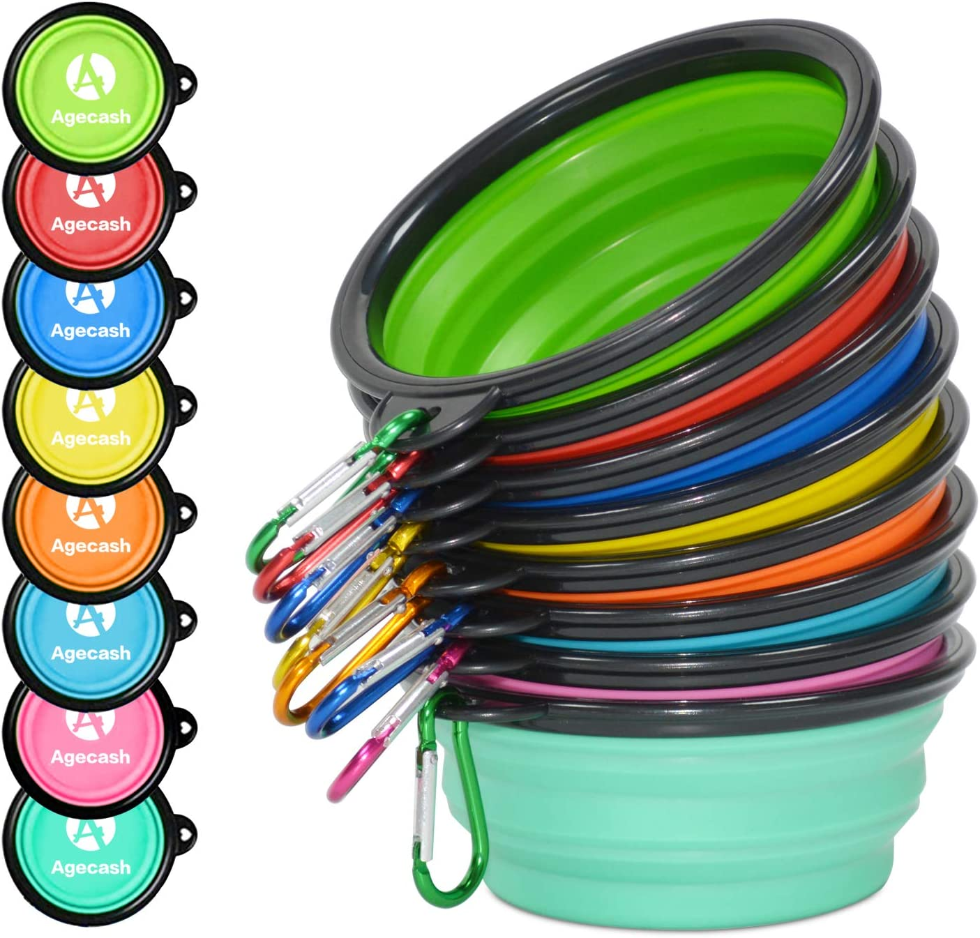 AGECASH A Collapsible Dog Bowl, 8 Pack Portable Silicone Travel Dog Cat Bowls, Pet Water Food Feeding Bowl with Carabiners for Walking Park Hiking
