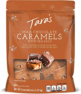 Tara`s Small Batch Milk Chocolate Covered Sea Salt Soft Caramels, Individually Wrapped, 3 Lbs (approx 60Piece), 48.6 Oz