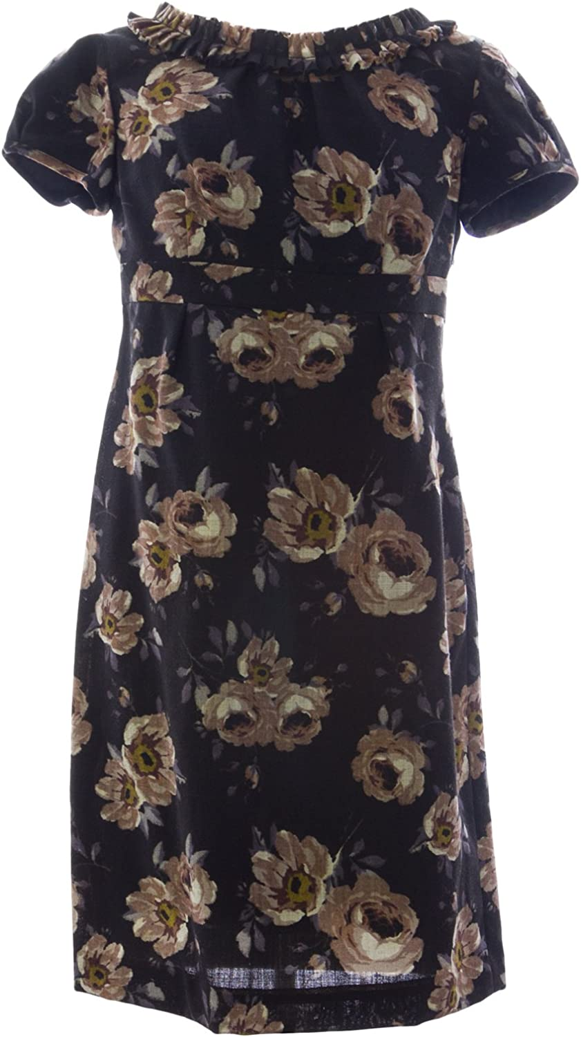 BODEN Women's Floral Print Wool Shift Dress US Sz 6P Black