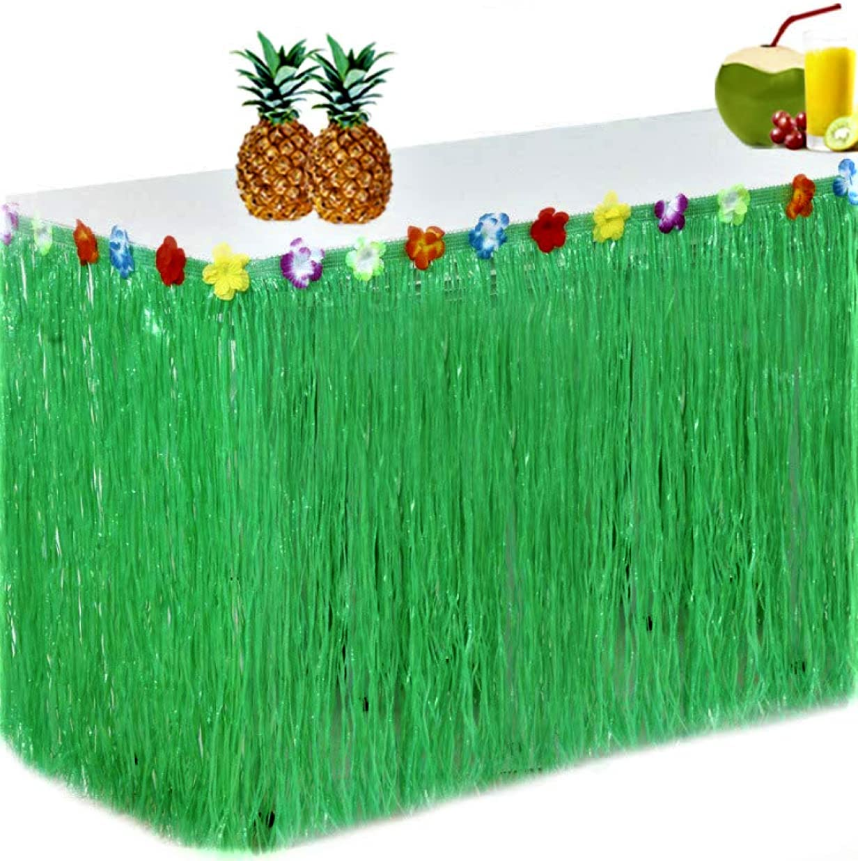 King Luau Green Grass Table Skirt - 9ft x 29in Luau Table Skirt | Raffia Fringe Party Decoration for Tiki Tropical Hawaii or Moana Themed Birthday, Graduation or Costume Party | Hawaiian Table Skirt
