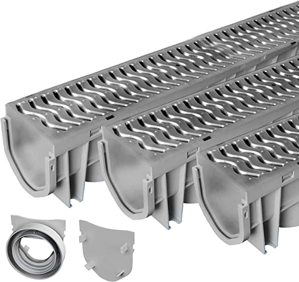 Source 1 Drainage Trench Driveway Channel Drain With Galvanized Steel Grate 3 Pack