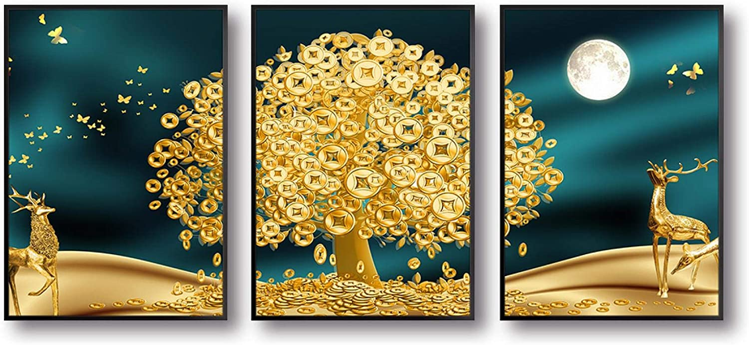 Sunsightly Print on Canvas Golden Popular products Art Pictu Baltimore Mall Wall Deer Tree Money