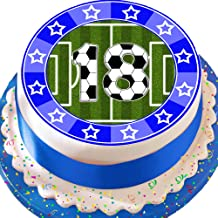 Cannellio Cakes Precut Edible Decoration Icing Sheet 7.5 Inch Football Blue 18Th Birthday Cake Topper N0350