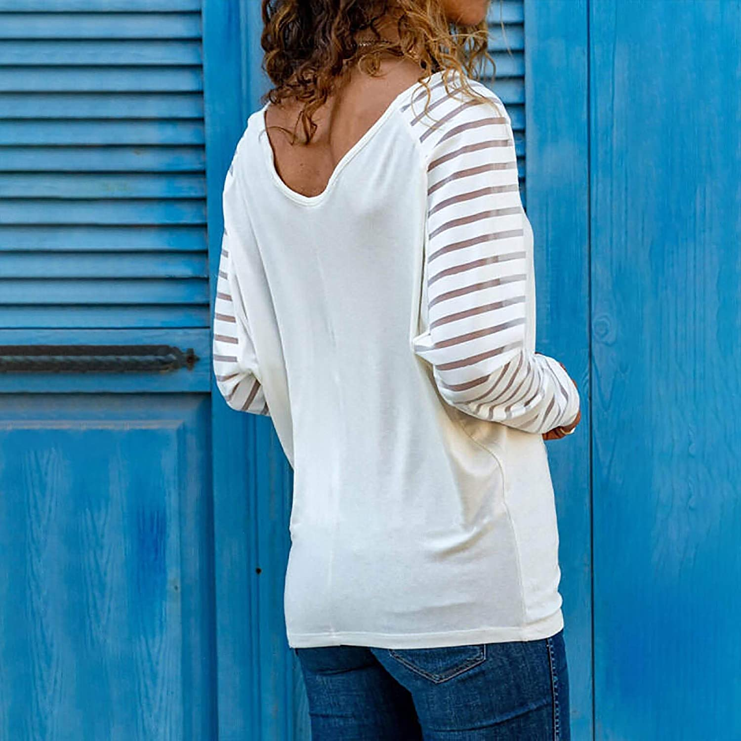 SALIFUN Womens Casual Tunic Tops,Long Sleeve Round Neck Color Casual Blouses Pullover Tops Loose Fit Comfy Sweatshirts