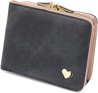 Damen Kleine Herz Dekoration Geldbörse Portemonnaie kurzer Kleine Geldbeutel Große Kapazität Wallets (Schwarz)
