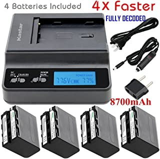 Kastar Ultra Fast Charger(4X faster) Kit and Battery (4-Pack 8700mAh) for Sony NP-F975, NP-F970, NP-F960, NP-F950 work with Sony CCD-SC65, CCD-TR940, CCD-TR3300, CCD-TRV615, CCD-TRV815, DCR-VX2100, DSR-PD150, DSR-PD170, FDR-AX1, HDR-AX2000, HDR-FX1, HDR-FX7, HDR-FX1000, HVL-LBPB, HVR-HD1000U, HVR-V1U, HVR-Z1P, HVR-Z1U, HVR-Z5U, HVR-Z7U, HXR-MC2000U, MVC-FDR1, NEX-EA50UH, NEX-FS100U, NEX-FS700U, DCR-SC100, HXR-MC2000U, HXR-NX5 [4x faster than a normal charger with portable USB charge function]