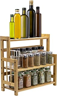 Sorbus Kitchen Countertop Organizer Bamboo Wooden Counter Storage Shelf Rack for Spice, Soap, Skin care, Makeup Display St...