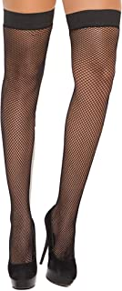Elegant Moments Women's Fishnet Thigh Hi with Stay Up Silicone Top Plus Size