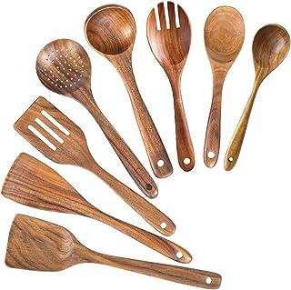 Wooden Spoons for Cooking,Nonstick Kitchen Utensil Set,Wooden Spoons Cooking Utensil Set Non Scratch Natural Teak Wooden U...