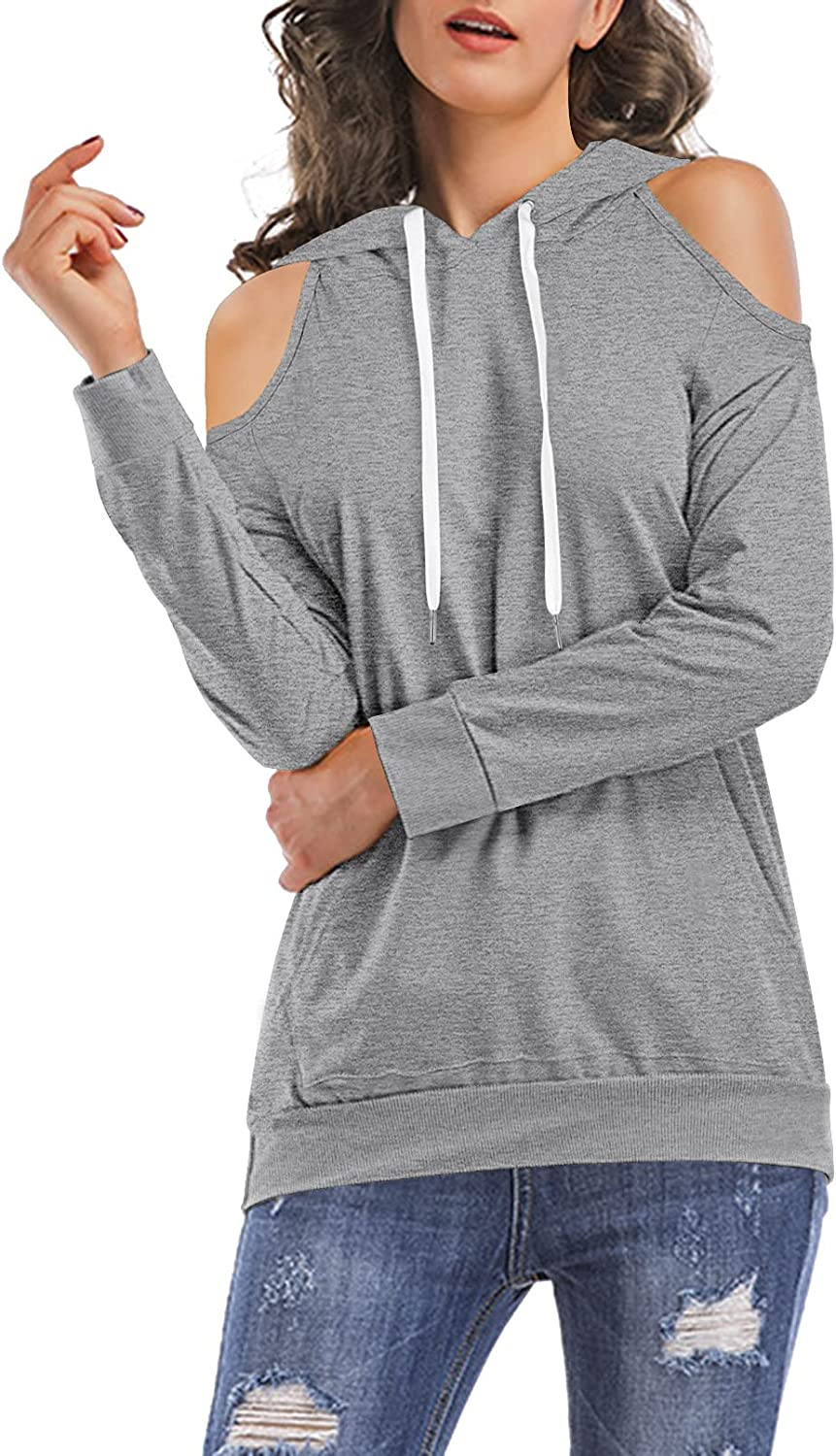 HAPCOPE Women's Cold Shoulder Hoodies Long Sleeve Pullover Hooded Sweatshirt Cut Out Shirt Tunic Tops